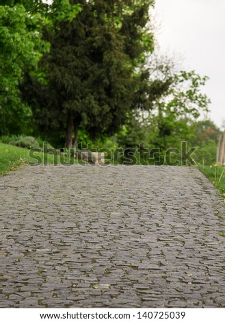 path into the distance, the park - stock photo