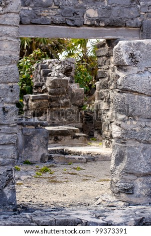 Path leading through Mayan ruins towards the jungle at Tulum, Quintana Roo, Mexico. - stock photo