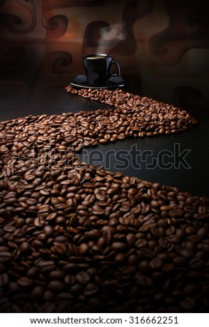Path made of coffee beans leading to a cup of hot coffee - stock photo