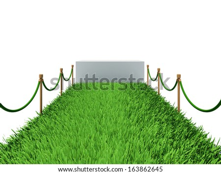 Path of green grass. 3d rendering on white background - stock photo