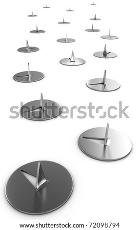 Path of metal thumbtacks isolated on white background - stock photo