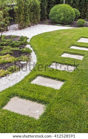 path of stone slabs - stock photo