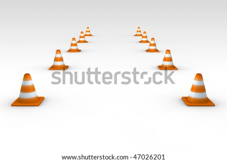 path of traffic cones