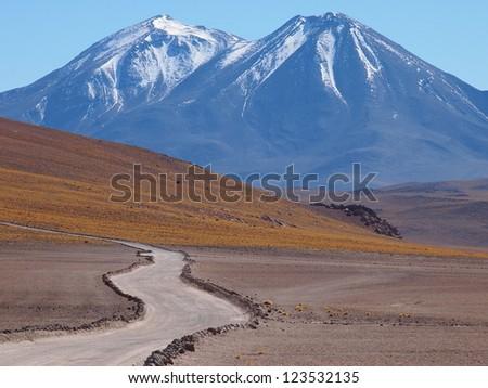 Path on the Atacama Desert. - stock photo