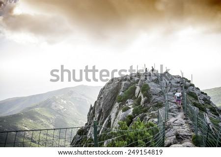 path on the mountain top - stock photo