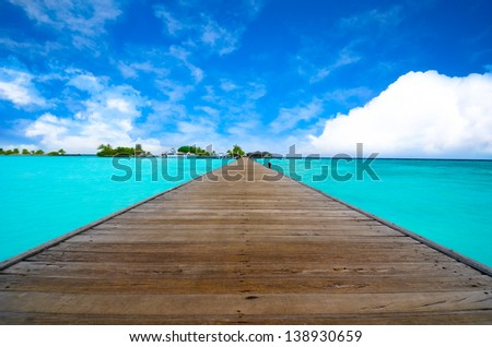 Path on the ocean, Maldives - stock photo