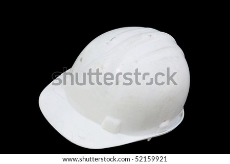 Path Plastic white safety helmet over back background - stock photo
