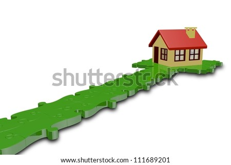 path puzzle with house,3d - stock photo