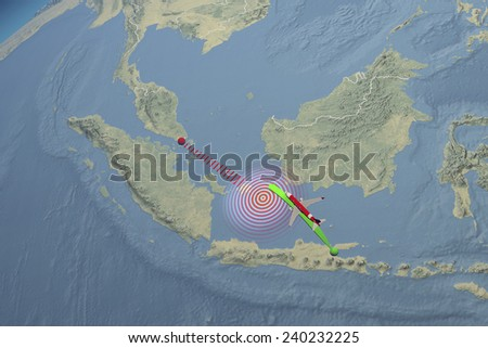 Path route Air Asia plane disappeared. Element of this image are furnished by Nasa - stock photo