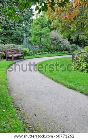 Path through a Green Garden - stock photo