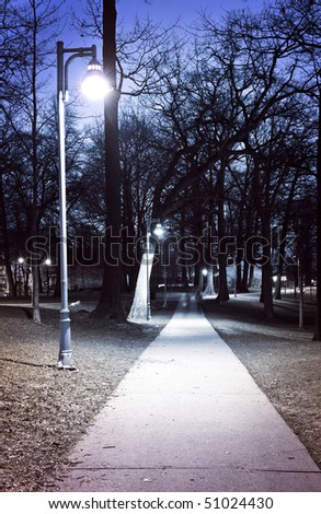 Path through city park at night with street lamps - stock photo