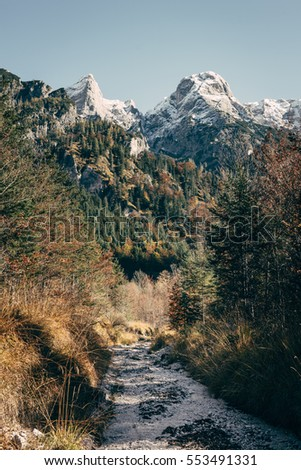 Path through the wilderness, in the background the death mountains in austria