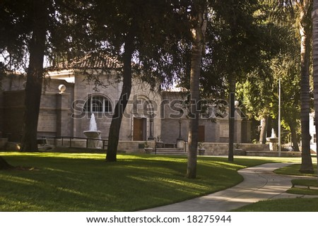 Path to Abraham Lincoln Memorial in Redlands, California.  This is the only dedicated memorial to Lincoln west of the Mississippi. - stock photo
