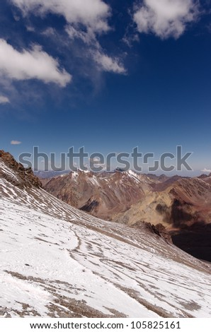 Path to he High altitude camps on Aconcagua mountain. Aconcagua Provincial Park, Mendoza, Argentina, South America. - stock photo