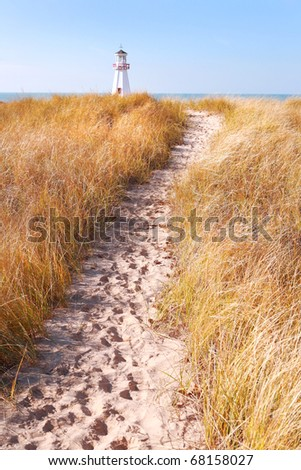 Path to lighthouse - stock photo