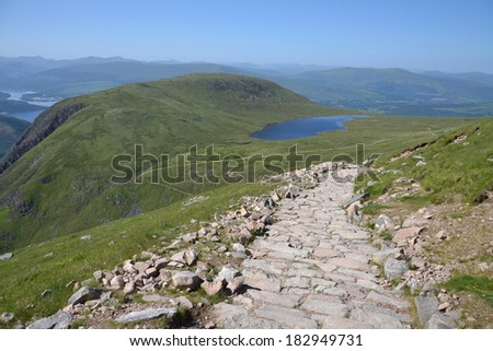 Path to the summit of Ben Nevis - the highest mountain in the United Kingdom  - stock photo