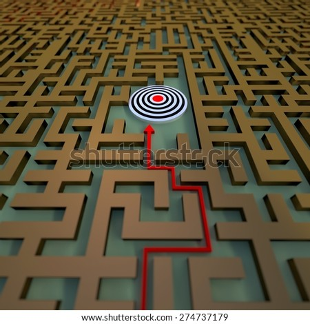 path to the target in the labyrinth - stock photo