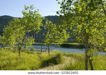 Path turns left by Wonderland Lake near Boulder, Colorado, with small cottonwood trees and a fence - stock photo