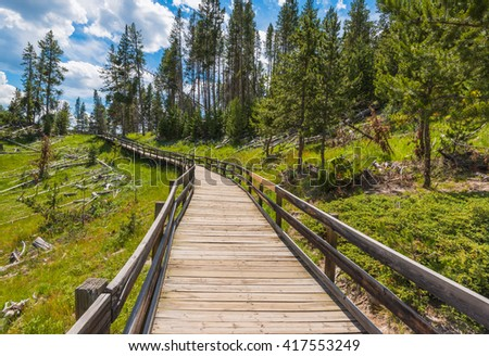 path way in geyser area, in Yellowstone National park,Wyoming,usa. - stock photo
