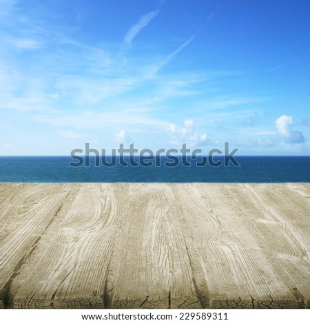 Path wooden on the beach with view to sea - stock photo