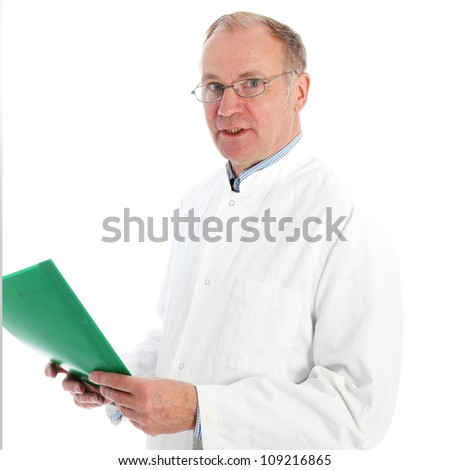 Pathologist in labcoat discussing results Middle-aged pathologist in labcoat holding a green patient folder and discussing his results facing the camera