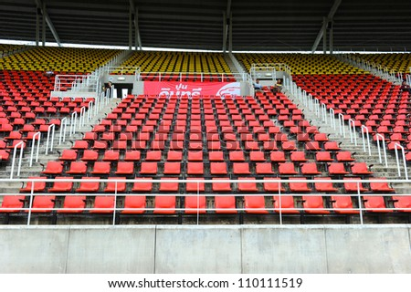 PATHUM THANI,THAILAND-AUG8:Empty seats of the Thammasat Stadium before geam during Thai Premier League between Insee Police UTD.and SCG Muangthong UTD.at Thammasat Stadium on Aug 8,2012 in Thailand