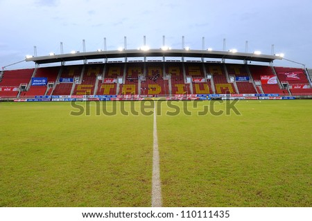 PATHUM THANI,THAILAND-AUG8:View Thammasat Stadium before geam during Thai Premier League between Insee Police UTD.and SCG Muangthong UTD.at Thammasat Stadium on Aug 8,2012 in Thailand - stock photo