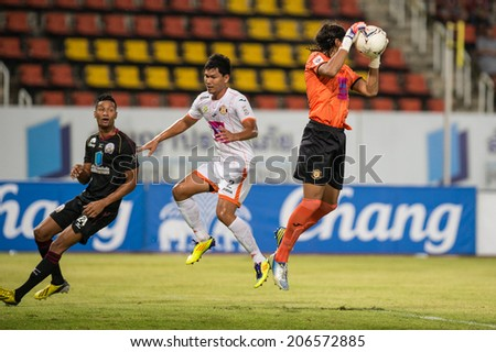 PATHUMTHANI THAILAND-Jul19:Goalkeeper Lucas Daniel of Sisaket FC.in action during the Thai Premier League between Police United and Sisaket FC at Thammasat Stadium on July19,2014,Thailand  - stock photo