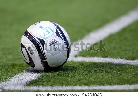 PATHUMTHANI,THAILAND SEP14 :Details of ball during Thai premier League 2013 between Bangkok Glass FC and Pattaya United at LeoStadium on september14, 2013 in Thailand  - stock photo