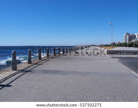 Pathway beside the sea in Cape Town, South Africa.