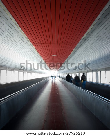 Pathway between Barcelona Airport and the train station - stock photo