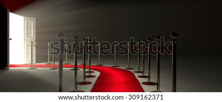 Pathway for triumph is a path delimited by an illuminated red carpet, red velvet rope  barrier and golden supports. The footpath starts in front of you and leads you to a white open door. - stock photo