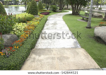 Pathway in a Peaceful Green Park