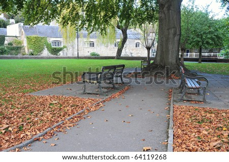 Pathway in a Public Park in Autumn - stock photo