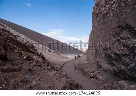 Pathway in Atacama Desert - stock photo