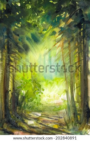 Pathway in summer forest.Picture created with watercolors.  - stock photo