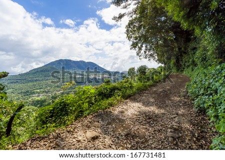 pathway in the forest with mountain in the background, in el salvador central america - stock photo