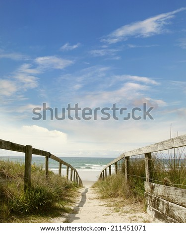 Pathway leading to the beach  - stock photo