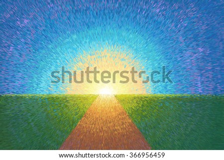 Pathway on green hill for illustration - stock photo