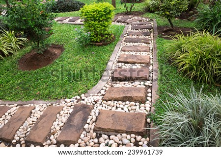 Pathway stones in the park. - stock photo