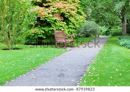 Pathway through a Beautiful Public Park - stock photo