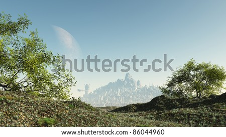 Pathway through a rural countryside landscape to a futuristic sci-fi city, 3d digitally rendered ilustration - stock photo