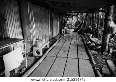 Pathway through a Shanty Town - stock photo