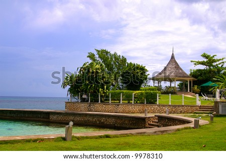 pathway to gazebo - stock photo