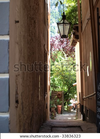 Pathway to the garden, in hallstatt of Austria, hallstatt - stock photo