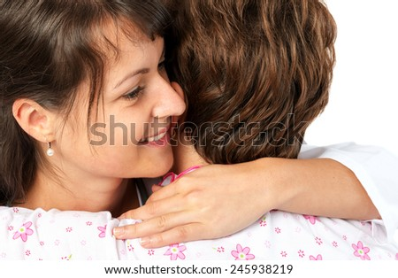 Patient and caregiver hugging - stock photo