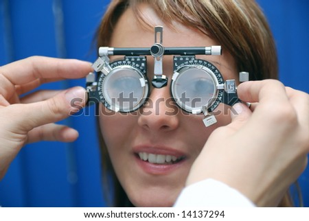 patient at oculist - stock photo