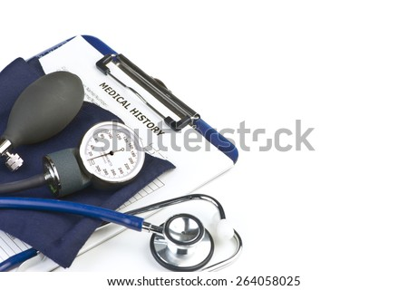 Patient chart with stethoscope and blood pressure cuff on white background.