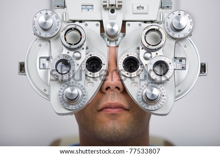 Patient during an eye test. - stock photo
