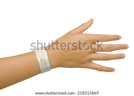 Patient ID Bracelet ,hospital wrist tag - stock photo
